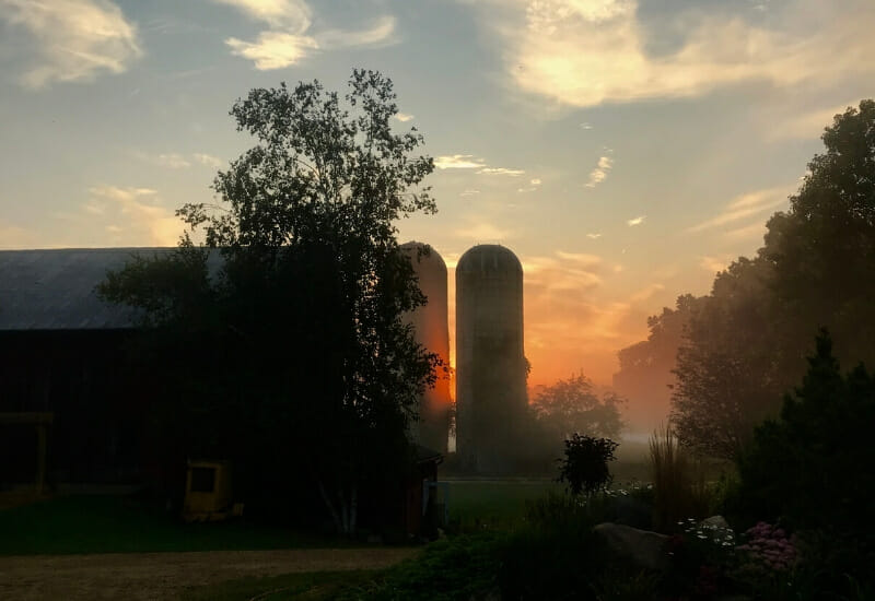 raw milk unpasteurized near battle creek mi -weathered silos sunset over farm